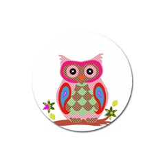 Owl Colorful Patchwork Art Magnet 3  (round) by Nexatart