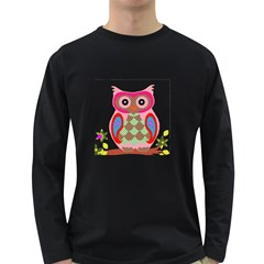 Owl Colorful Patchwork Art Long Sleeve Dark T Shirts