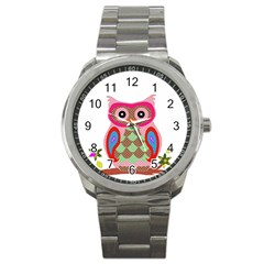 Owl Colorful Patchwork Art Sport Metal Watch