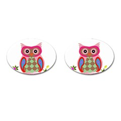 Owl Colorful Patchwork Art Cufflinks (oval) by Nexatart