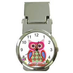 Owl Colorful Patchwork Art Money Clip Watches by Nexatart