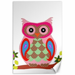 Owl Colorful Patchwork Art Canvas 20  X 30   by Nexatart