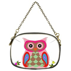 Owl Colorful Patchwork Art Chain Purses (one Side)  by Nexatart