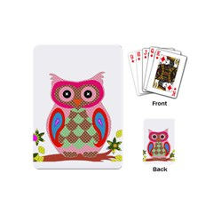 Owl Colorful Patchwork Art Playing Cards (mini)