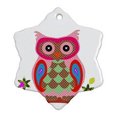 Owl Colorful Patchwork Art Snowflake Ornament (two Sides) by Nexatart