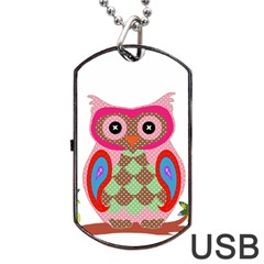 Owl Colorful Patchwork Art Dog Tag Usb Flash (two Sides) by Nexatart