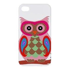 Owl Colorful Patchwork Art Apple Iphone 4/4s Premium Hardshell Case by Nexatart