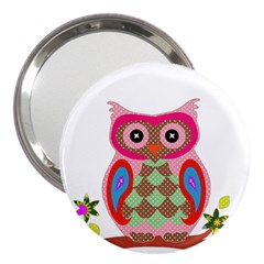 Owl Colorful Patchwork Art 3  Handbag Mirrors by Nexatart