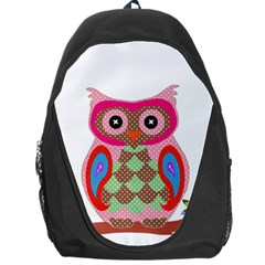 Owl Colorful Patchwork Art Backpack Bag by Nexatart