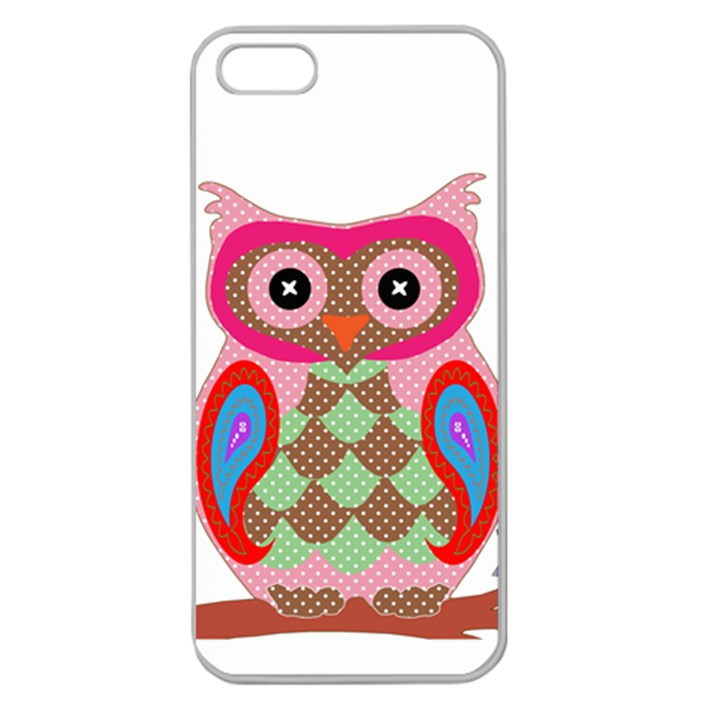 Owl Colorful Patchwork Art Apple Seamless iPhone 5 Case (Clear)