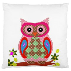 Owl Colorful Patchwork Art Large Flano Cushion Case (two Sides) by Nexatart