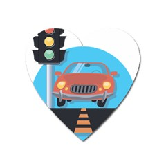 Semaphore Car Road City Traffic Heart Magnet by Nexatart