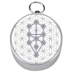 Tree Of Life Flower Of Life Stage Silver Compasses by Nexatart