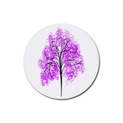 Purple Tree Rubber Coaster (round)  by Nexatart