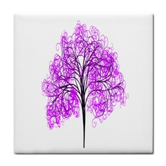 Purple Tree Face Towel by Nexatart