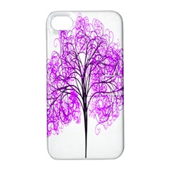 Purple Tree Apple Iphone 4/4s Hardshell Case With Stand