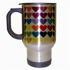 Heart Love Color Colorful Travel Mug (silver Gray) by Nexatart