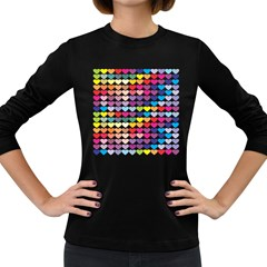 Heart Love Color Colorful Women s Long Sleeve Dark T Shirts