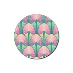 Seamless Pattern Seamless Design Rubber Round Coaster (4 Pack)