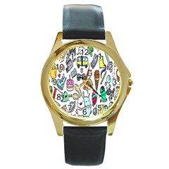 Story Of Our Life Round Gold Metal Watch by Nexatart