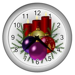 Candles Christmas Tree Decorations Wall Clocks (silver)