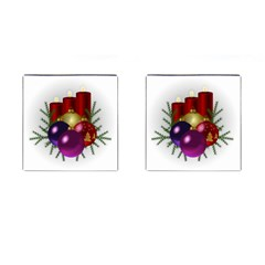 Candles Christmas Tree Decorations Cufflinks (square) by Nexatart