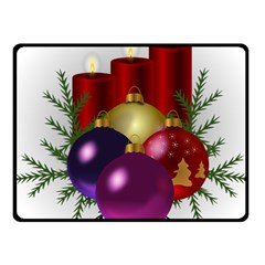 Candles Christmas Tree Decorations Fleece Blanket (small)