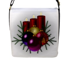 Candles Christmas Tree Decorations Flap Messenger Bag (l)  by Nexatart