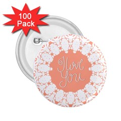 Mandala I Love You 2 25  Buttons (100 Pack)  by Nexatart