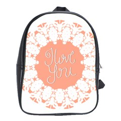 Mandala I Love You School Bags (xl)  by Nexatart