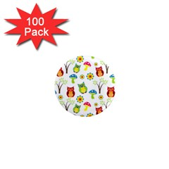 Cute Owl Wallpaper Pattern 1  Mini Magnets (100 Pack)  by Nexatart
