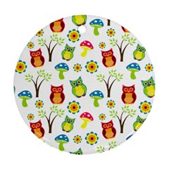 Cute Owl Wallpaper Pattern Round Ornament (two Sides)
