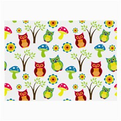 Cute Owl Wallpaper Pattern Large Glasses Cloth (2 Side) by Nexatart