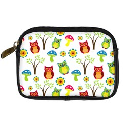 Cute Owl Wallpaper Pattern Digital Camera Cases by Nexatart