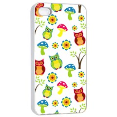 Cute Owl Wallpaper Pattern Apple Iphone 4/4s Seamless Case (white) by Nexatart