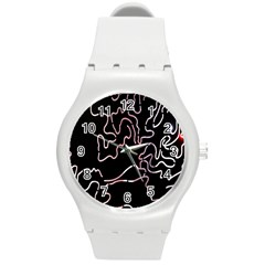 Abstract Glare Visual Art Round Plastic Sport Watch (m)