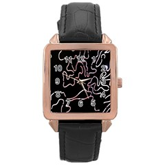 Abstract Glare Visual Art Rose Gold Leather Watch