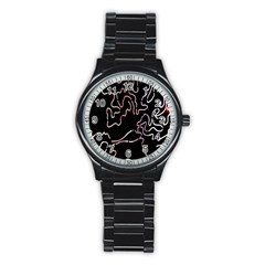 Abstract Glare Visual Art Stainless Steel Round Watch