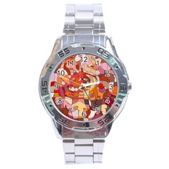 Abstract Abstraction Pattern Modern Stainless Steel Analogue Watch