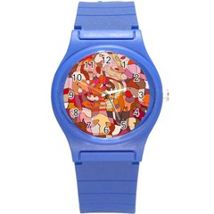 Abstract Abstraction Pattern Modern Round Plastic Sport Watch (s)