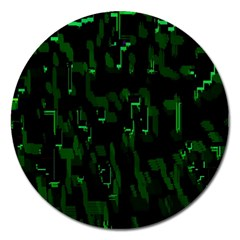 Abstract Art Background Green Magnet 5  (round)