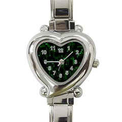 Abstract Art Background Green Heart Italian Charm Watch