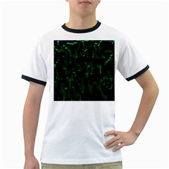 Abstract Art Background Green Ringer T Shirts