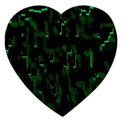 Abstract Art Background Green Jigsaw Puzzle (heart)