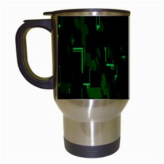 Abstract Art Background Green Travel Mugs (white)