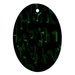 Abstract Art Background Green Oval Ornament (two Sides)