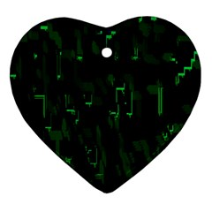 Abstract Art Background Green Heart Ornament (two Sides)