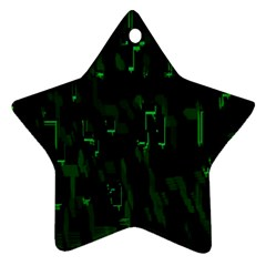 Abstract Art Background Green Star Ornament (two Sides)