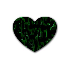 Abstract Art Background Green Rubber Coaster (heart)