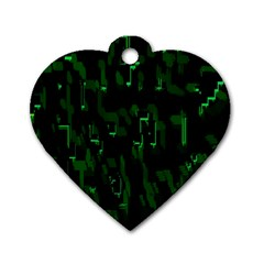 Abstract Art Background Green Dog Tag Heart (two Sides)